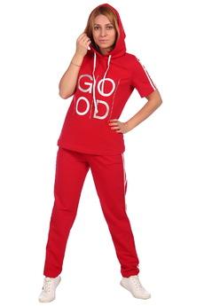 Красный спортивный костюм с капюшоном ElenaTex со скидкой