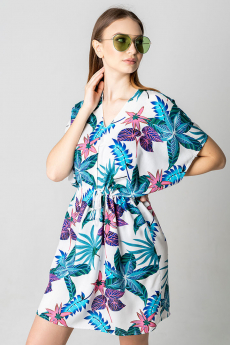 Пляжная туника фиолетовый с изумрудным MYLIKE